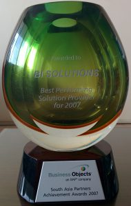 """""""Best Performing Solution Provider – South Asia Partners 2007"""" from SAP"""